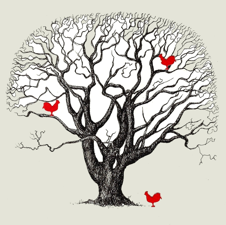 Chicken Tree 7 - Amie Bolissian - Pen on Paper